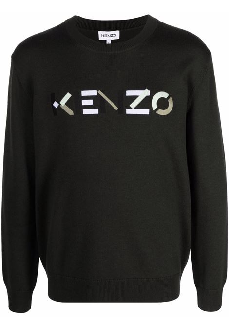 Grey contrasting logo - print jumper - men KENZO | FB65PU6393LA97