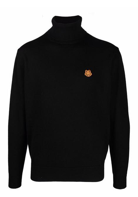 Tiger-appliqué roll-neck jumper in black  KENZO | FB65PU6433TA99