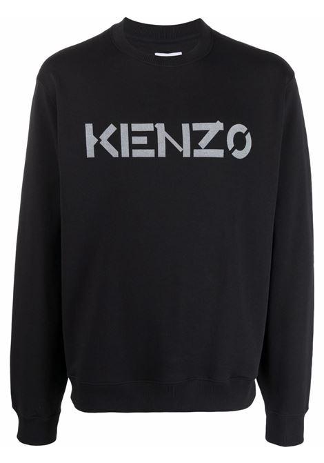 Logo-print cotton sweatshirt in black - men  KENZO | FB65SW0004ML99