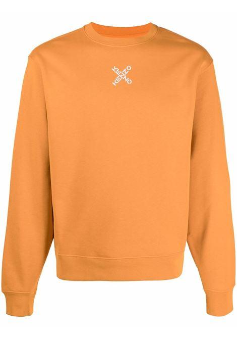 Logo-print crew neck sweatshirt in orange - men  KENZO | FB65SW0124MS16