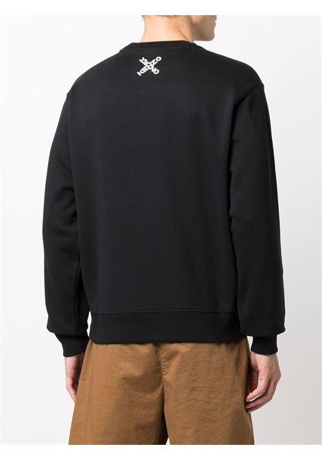 Logo-print crew neck sweatshirt in black - men  KENZO | FB65SW0124MS99