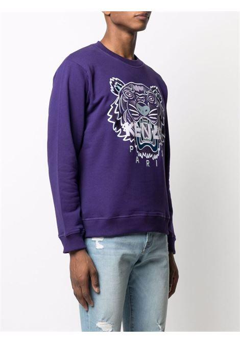 Tiger head logo sweatshirt in purple - men  KENZO | FB65SW1234XA80