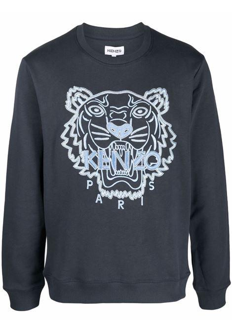 Blue tiger head logo sweatshirt - men  KENZO | FB65SW1244XF79