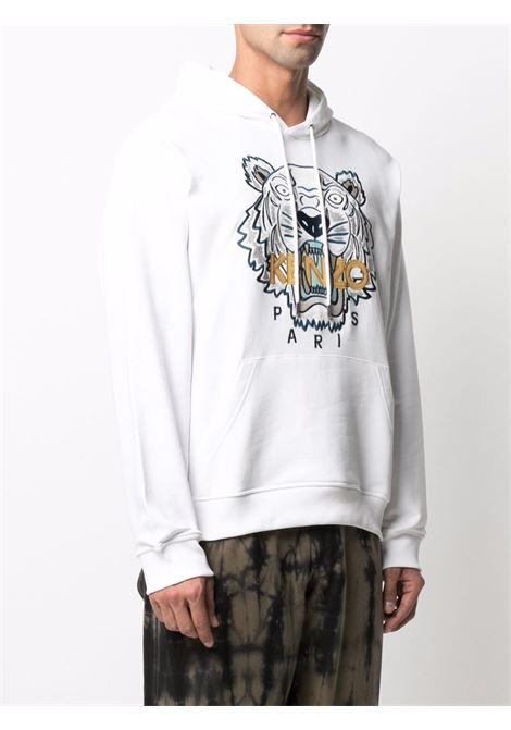 Felpa con applicazione tiger con cappuccio in bianco - uomo KENZO   FB65SW3334XA01B