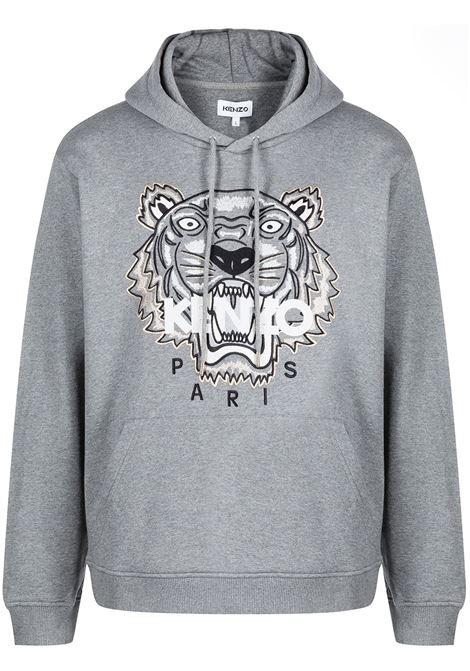 Tiger embroidered relaxed sweatshirt in dove grey - men  KENZO | FB65SW3334XA95