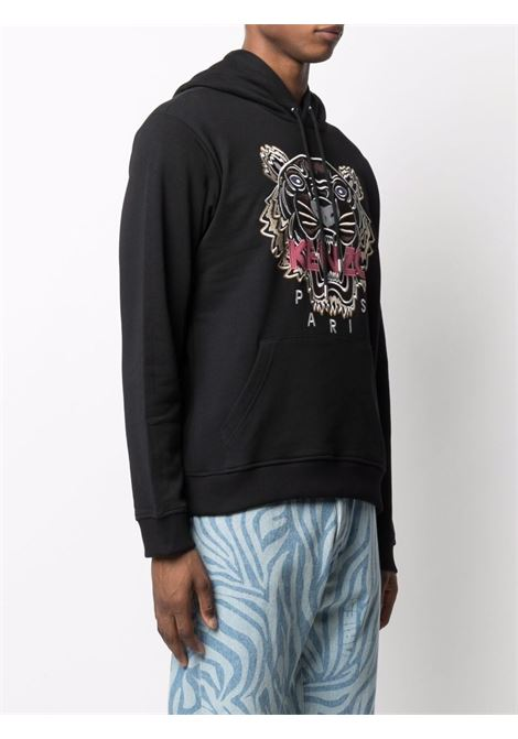 Tiger embroidered relaxed sweatshirt in black - men  KENZO | FB65SW3334XA99