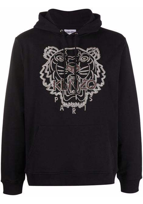 Logo-embroidered sweatshirt in black - men  KENZO | FB65SW3344XF99