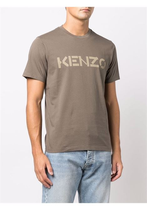 T-shirt con logo in verde - uomo KENZO | FB65TS0004SA52