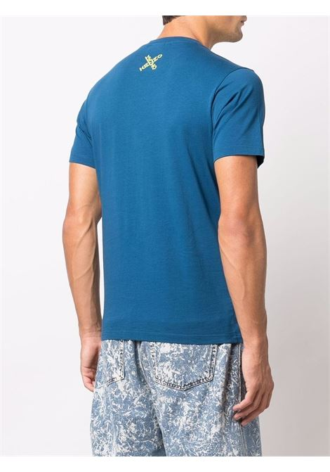 Blue cross-logo print T-shirt - men  KENZO | FB65TS0124SJ78