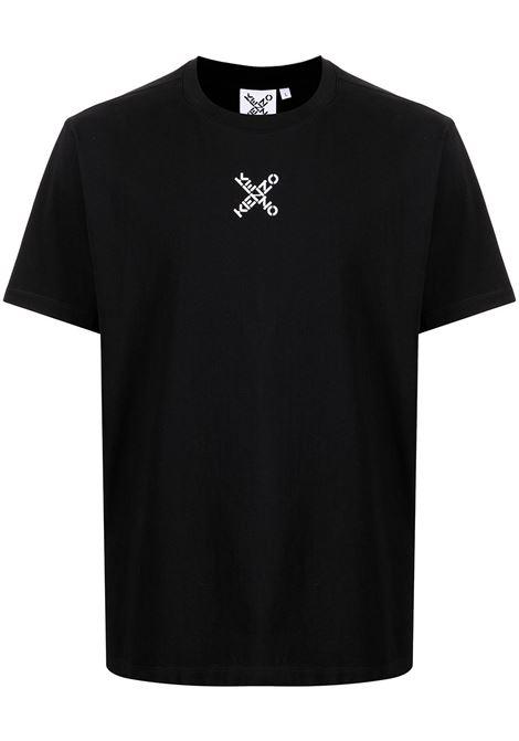 Cross-logo print T-shirt in black - men  KENZO | FB65TS0124SJ99