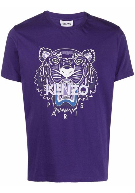 T-shirt con motivo tiger head in viola - uomo KENZO | FB65TS0204YA80