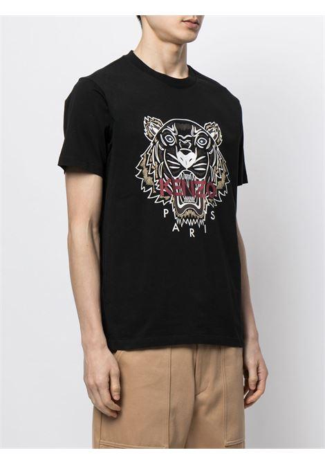 Tiger-print cotton T-shirt in black - men   KENZO | FB65TS0204YA99