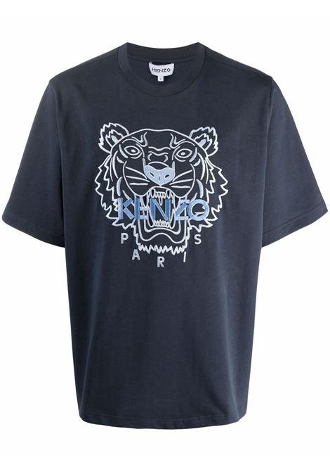 Tiger-print cotton T-shirt in navy blue - men   KENZO | FB65TS0894YF79