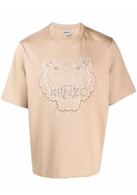 T-shirt con motivo tiger head in beige - uomo KENZO | FB65TS0914YH13