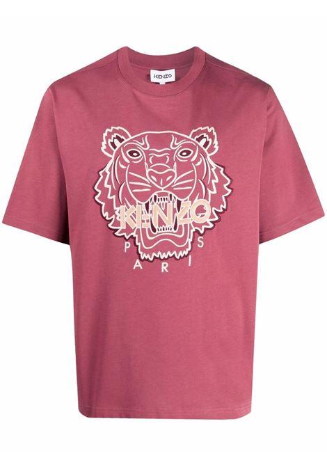 T-shirt con motivo tiger head in rosso - uomo KENZO | FB65TS0914YH85
