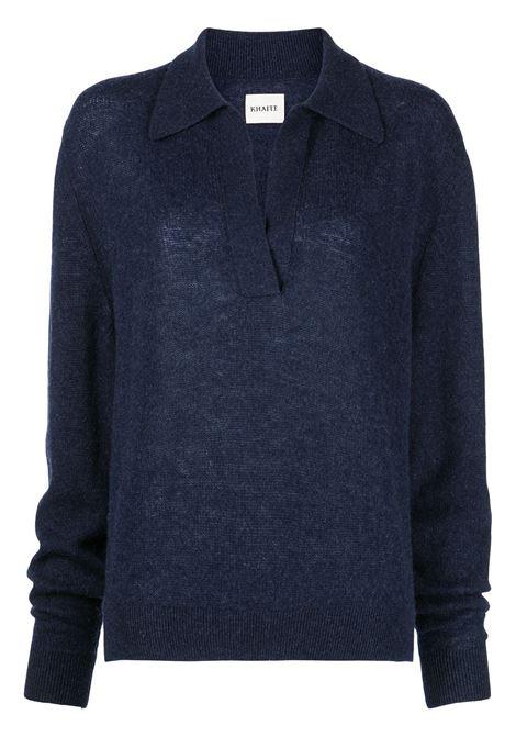 The Jo V-neck polo jumper in blue - women  KHAITE | 8172605328