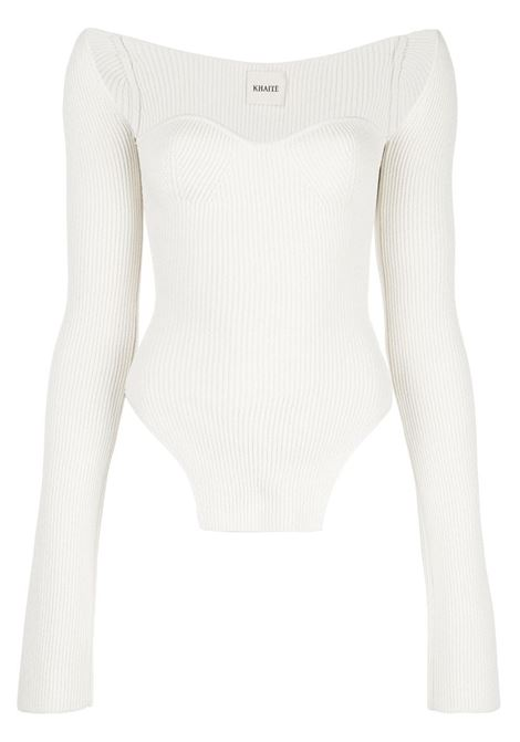Maddy bustier ribbed top in white - women  KHAITE   8310400103