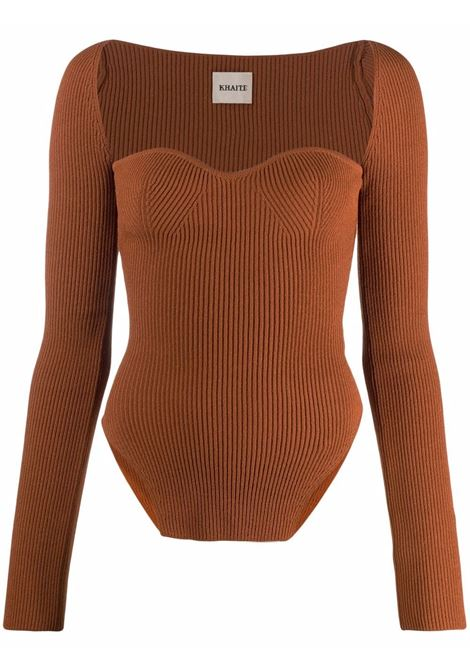Maddy bustier ribbed top in orange - women  KHAITE   8310400529