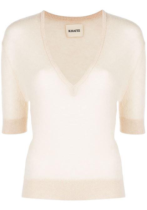 The sierra short-sleeve jumper in cream - women  KHAITE   8640605953