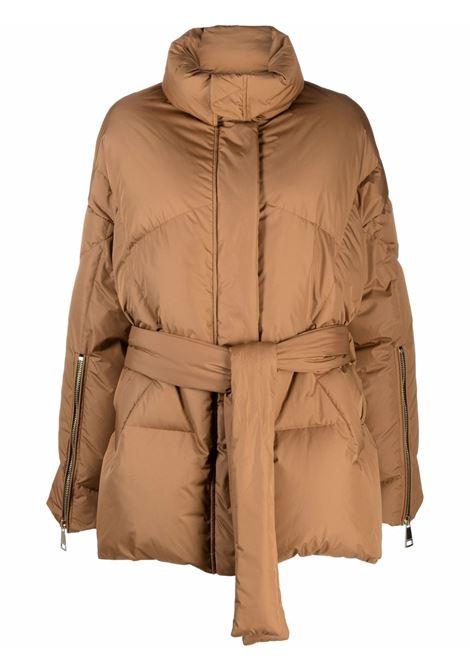 Piumino lungo con logo in marrone chiaro - donna KHRISJOY | CFPW014NYM128
