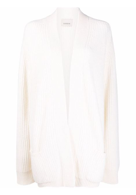 White ribbed-knit oversized cardigan - women  LANEUS   CDD53350