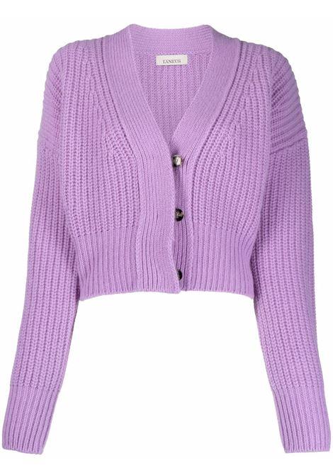 Lilac cropped chunky knit cardigan - women  LANEUS   CDD541GLCN
