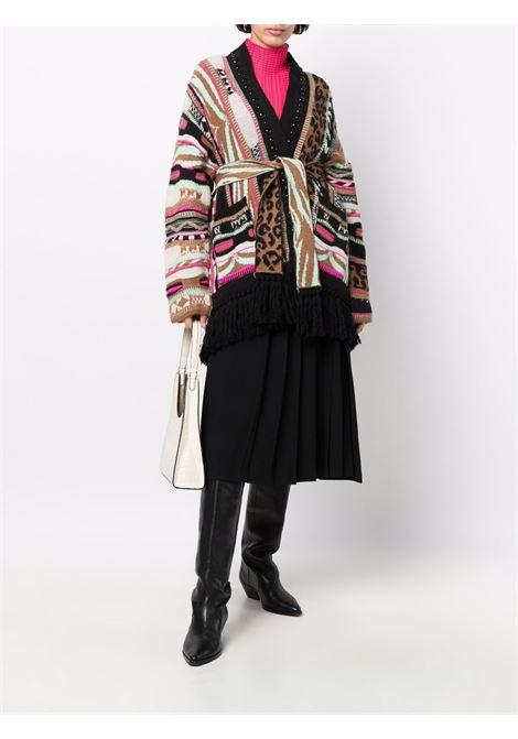 Multicolored tie-fastening knitted cardigan - women  LANEUS   CDD5421