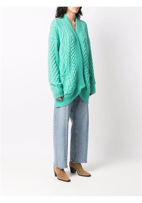 Acqua green cable knit cardigan - women  LANEUS   CDD543ACQ