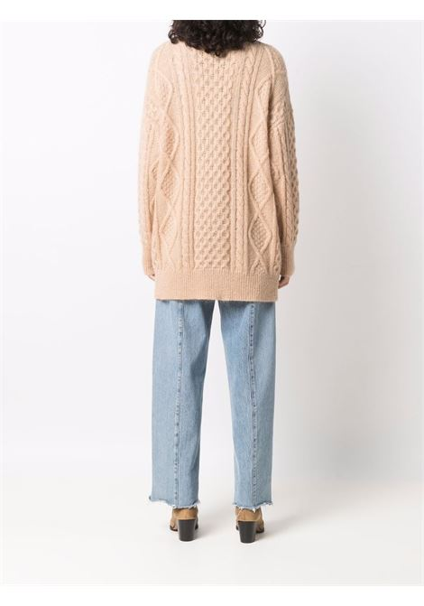 Camel cable knit cardigan - women  LANEUS   CDD543CMMLL