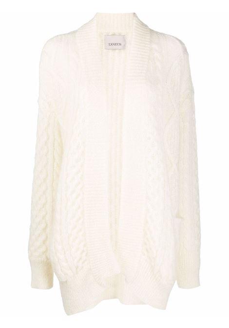 White cable knit cardigan - women  LANEUS   CDD543LTT