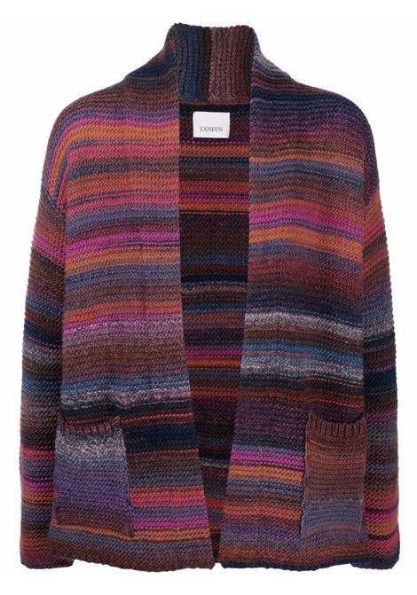 Striped draped cardigan in multicolour - men LANEUS | CDU56471159