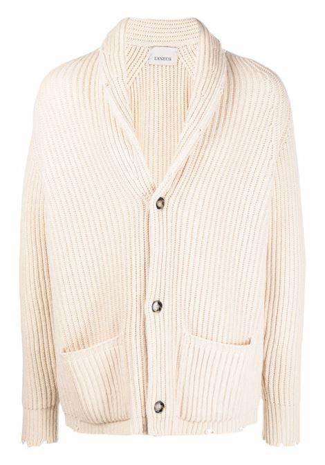 Ribbed knit cardigan in camel-brown - men LANEUS | CDU5661640