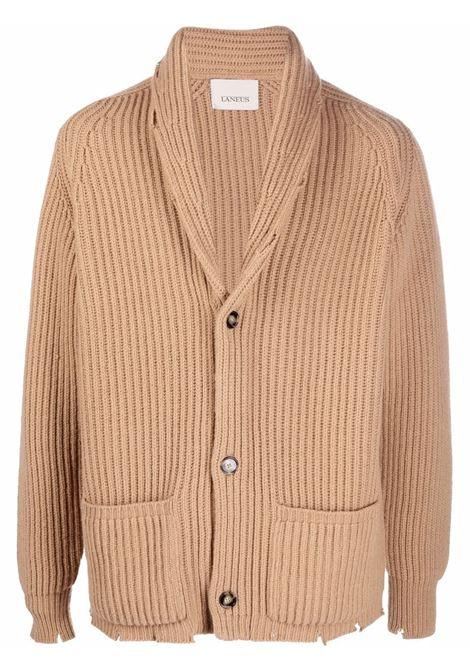 Ribbed knit cardigan in beige - men LANEUS | CDU5666630