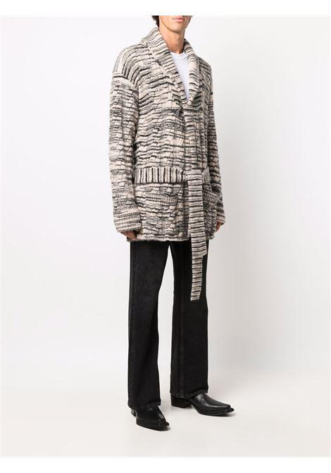 Beige stripe-pattern belted cardigan - men  LANEUS | CDU7401