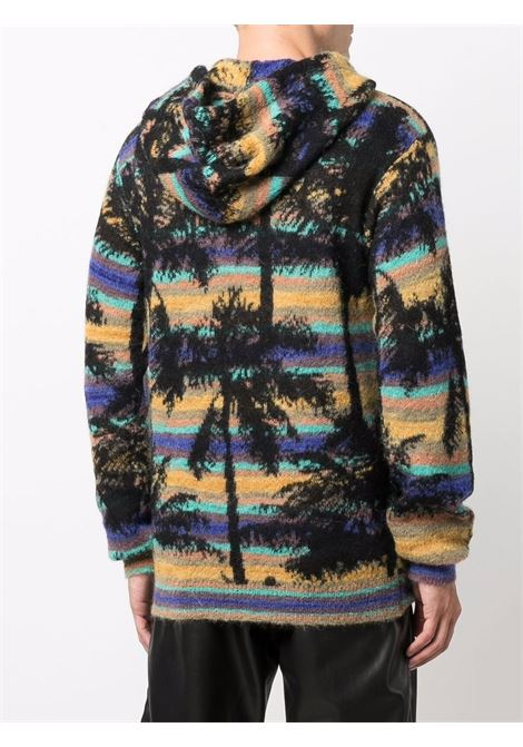 Palm tree-motif knitted jumper in black and multicolour - men LANEUS | CPU10072