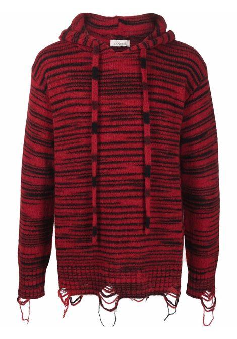 Striped drawstring hooded jumper in red and black - men LANEUS | CPU70726525