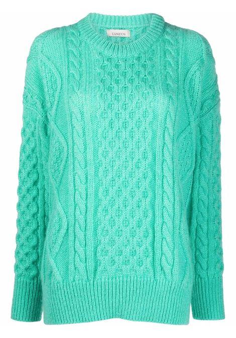 Acqua green cable-knit long-sleeved jumper - women  LANEUS   MGD549ACQ