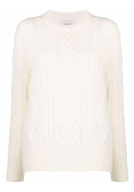 White cable-knit long-sleeved jumper - women  LANEUS   MGD549LTT