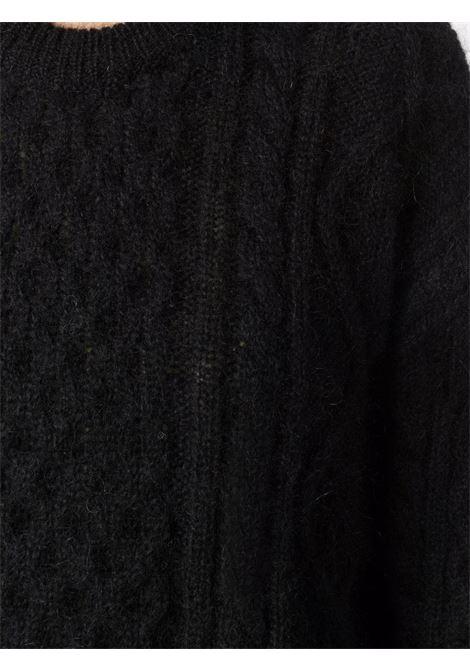 Black cable-knit long-sleeved jumper - women  LANEUS   MGD549NR