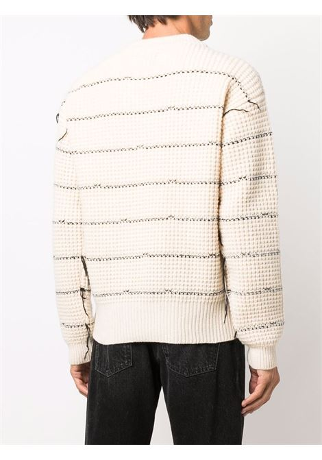 Cream distressed striped jumper - men LANEUS | MGU5691