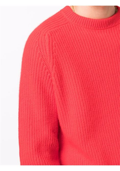 Crew-neck knit jumper in red - men LANEUS | MGU762718