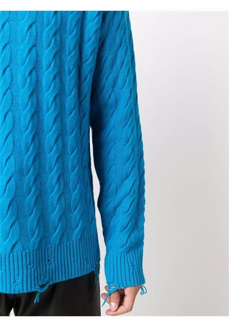 Distressed-effect jumper in turquoise blue - men LANEUS | MGU7634602