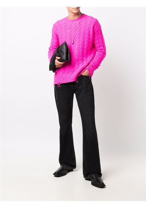 Distressed-effect jumper in fuchsia pink  - men LANEUS | MGU7637139