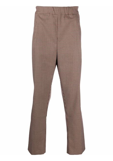 Houndstooth-check straight leg trousers in beige, red and black - men LANEUS | PNU38U