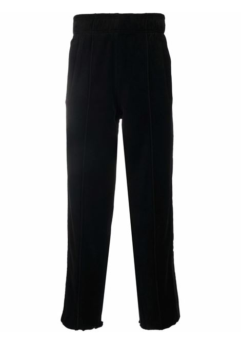 Side stripe straight-leg trousers in black - men  LANEUS | PNU39NR