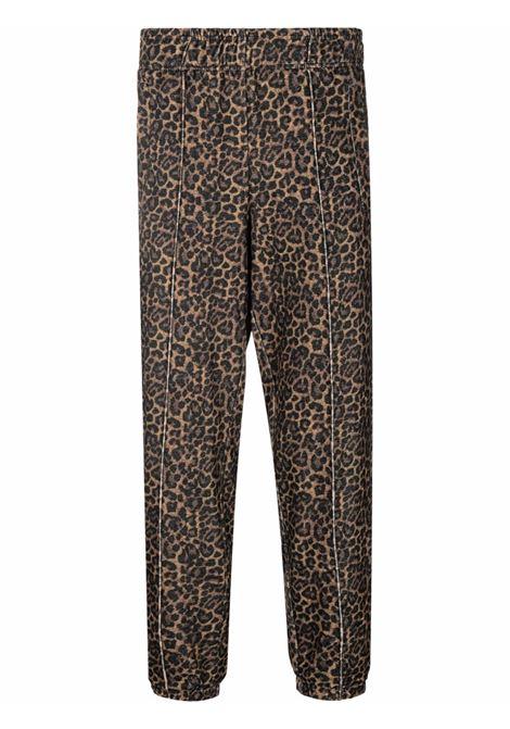 Brown leopard-print tapered trousers - men  LANEUS | PNU41U