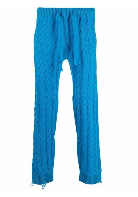 Drawstring cable-knit trousers in blue - men LANEUS | PNU5024602