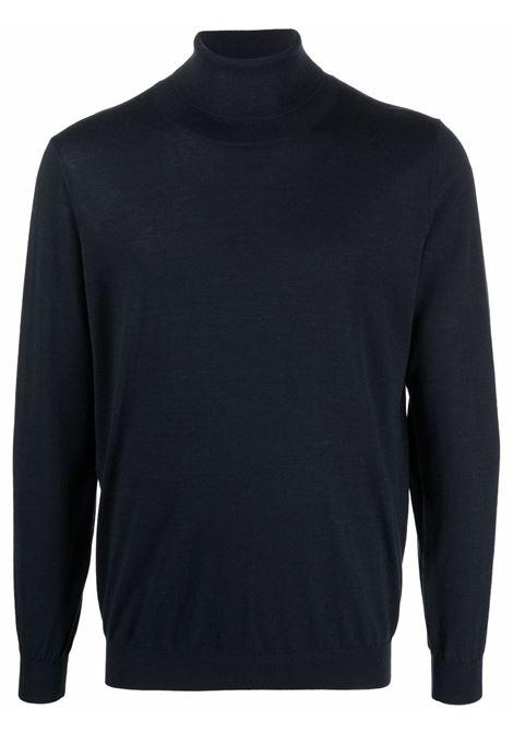 Roll-neck jumper in navy blue - men LANEUS | S250230