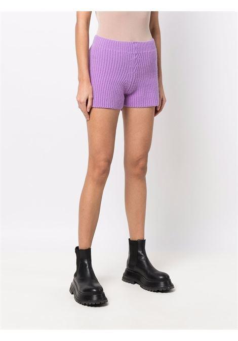 Lilac ribbed shorts - women  LANEUS   SHD50340195