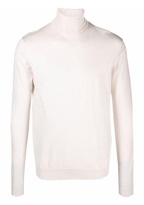 Maglione in maglia fine con collo alto crema - uomo LANVIN | RMPO0041K201021